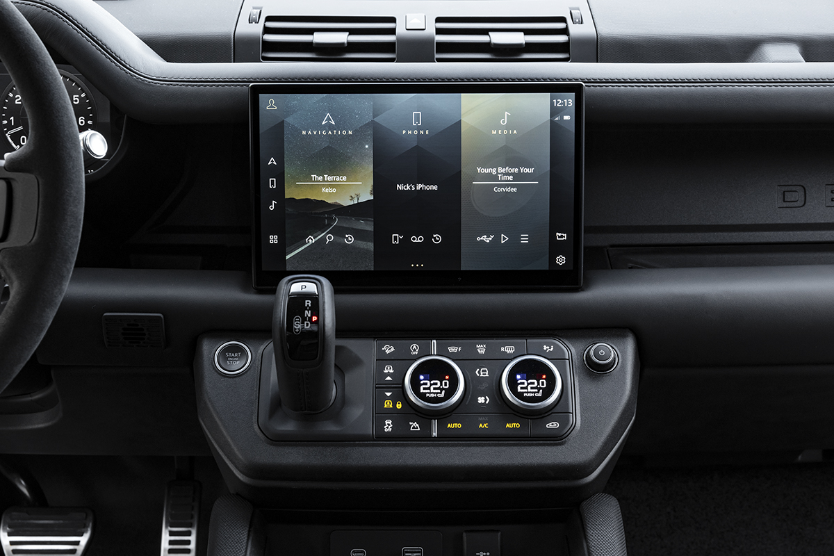 new 11.4-inch Pivi Pro touchscreen in Defender console