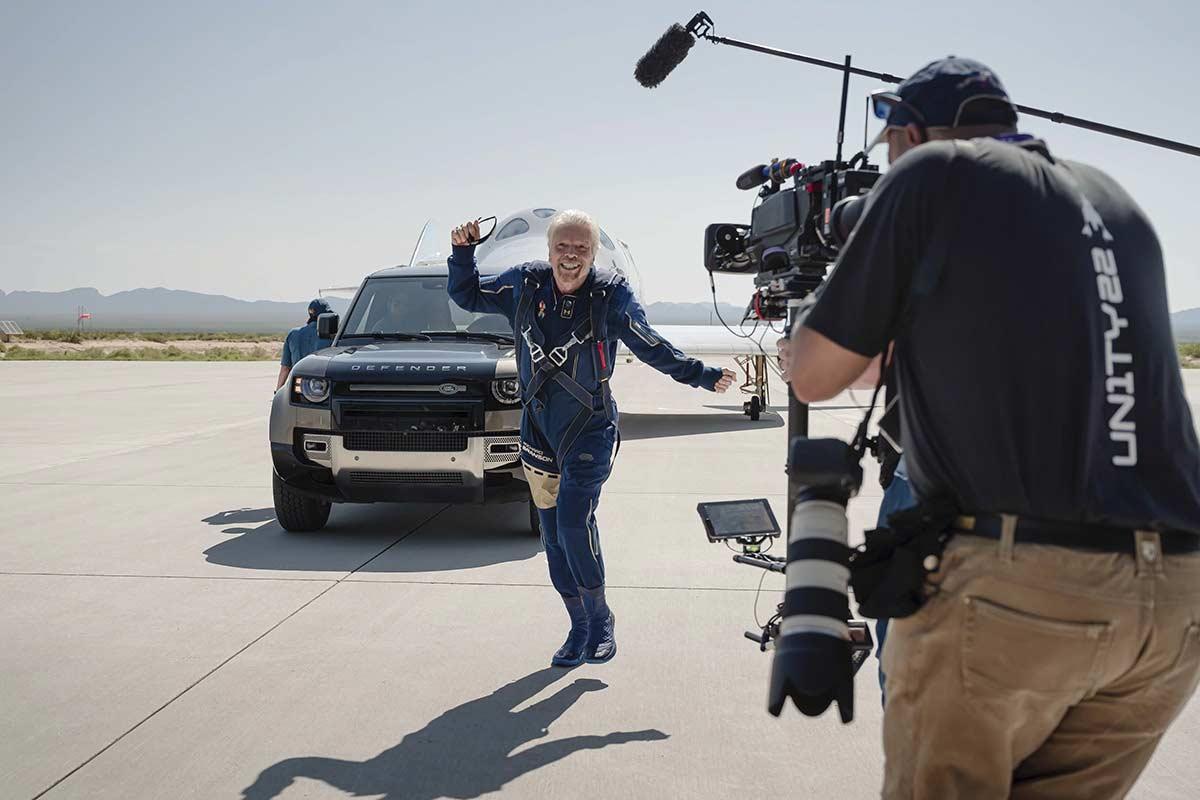 Richard Branson celebrating first space flight