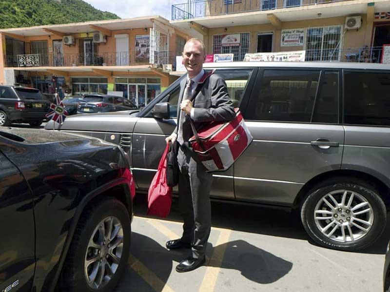 Governor of the British Virgin Islands and his Range Rover