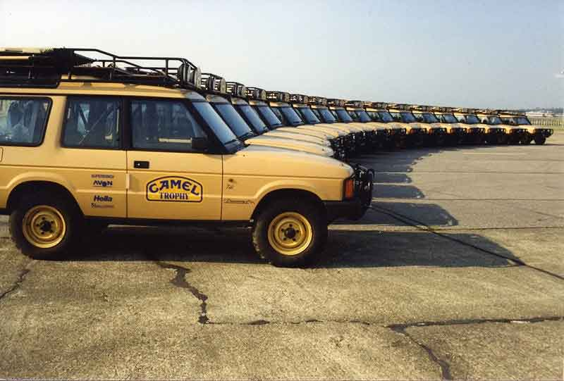 Land Rovers lined up for Camel Trophy 1990 in Siberia