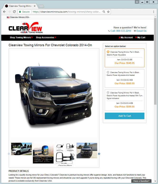 clearview mirrors usa product page