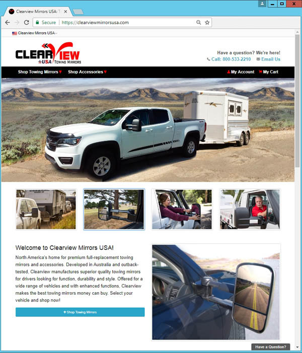 Clearview Mirrors USA homepage