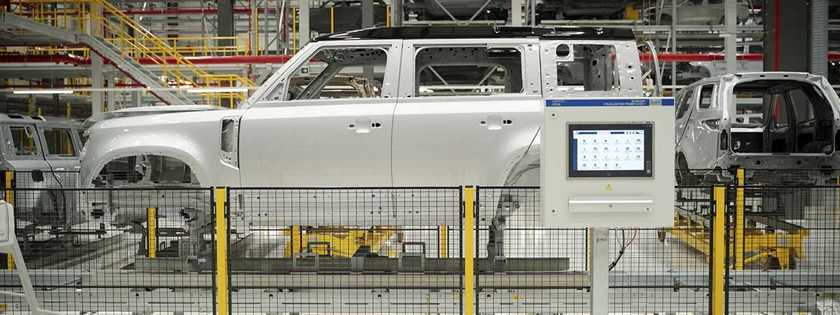 a Defender on the assembly line