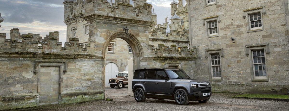 The new Defender 110 V8 and a Stage One 109 Land Rover