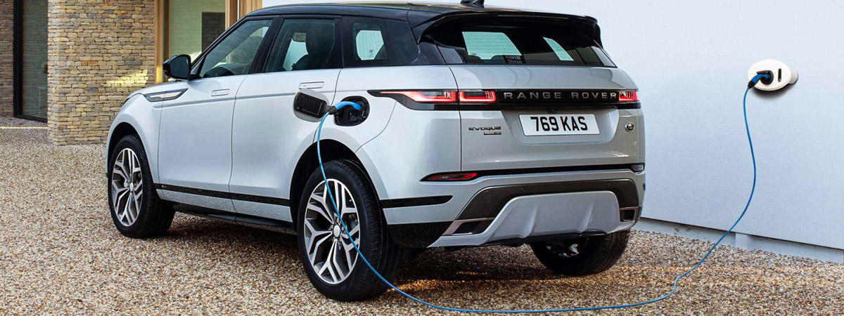 An electric Range Rover Evoque leashed for juice