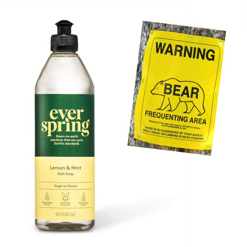 ever spring biodegradable dish soap and bear warning sign