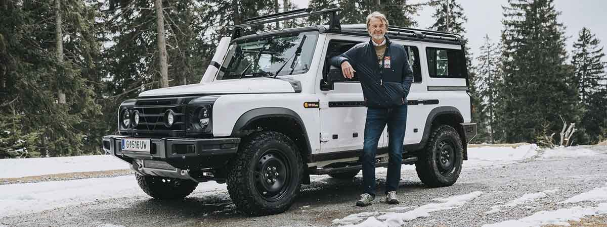 Grenadier creator Jim Ratcliffe with his test mule truck