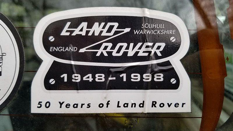 Land Rover 50 year anniversary vehicle badge