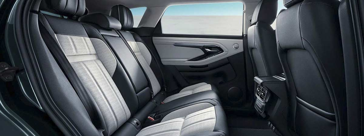 the backseat of the new long wheelbase Range Rover Evoque L