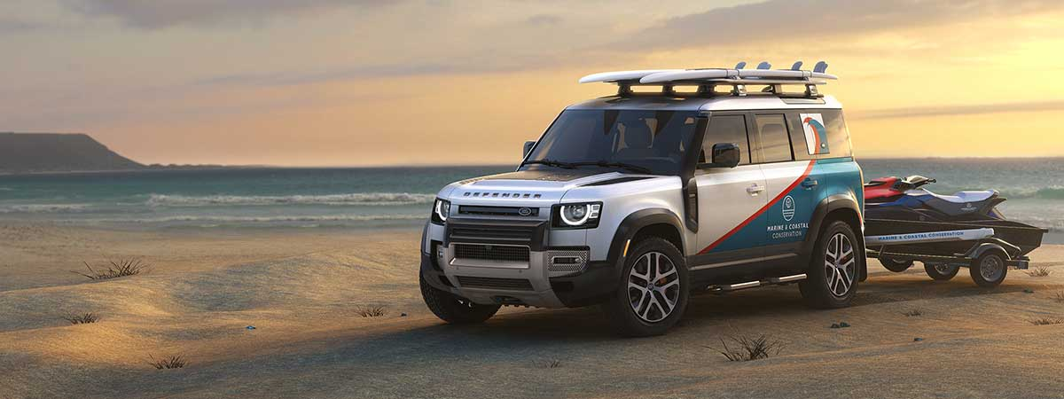 a Defender customized for a marine conservation agency
