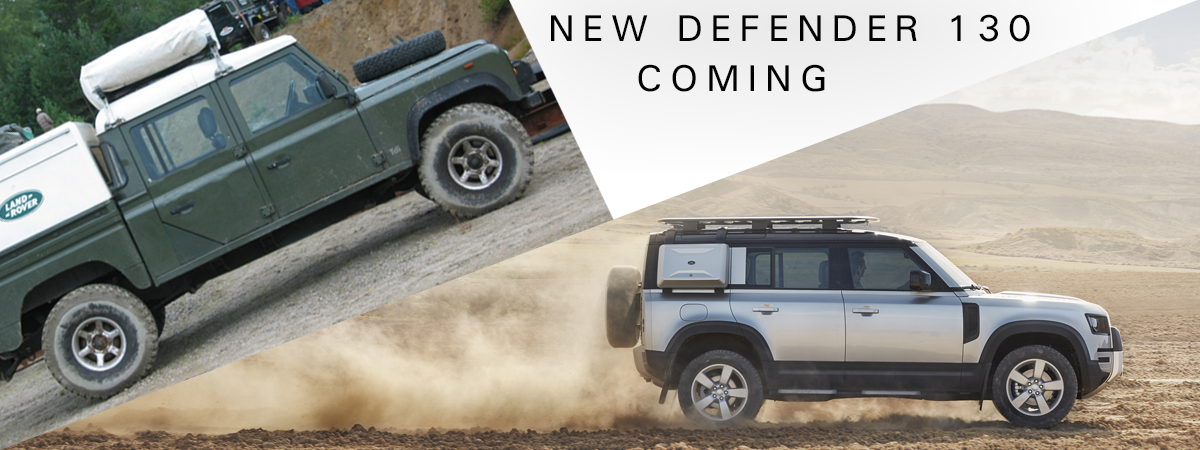 An original Defender 130 crew cab and a new Defender 110, the base of the new Defender 130