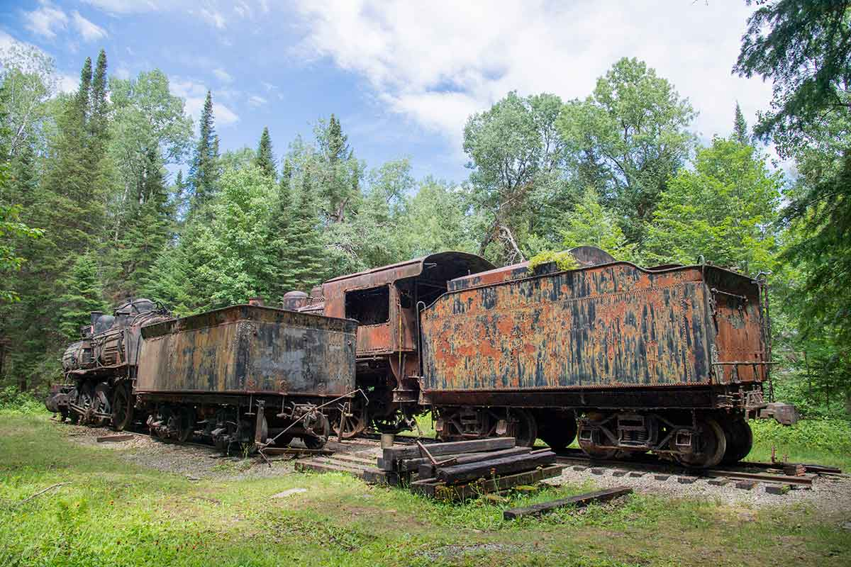 abandoned locomotives of the Eagle Lake and West Branch Railroad