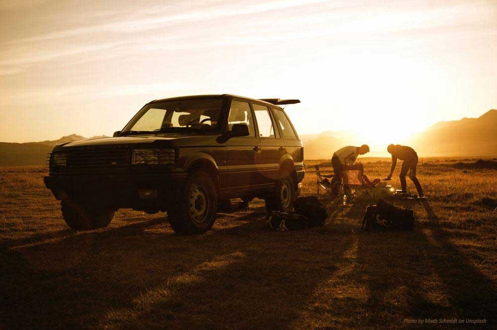 overland camping with Range Rover P38
