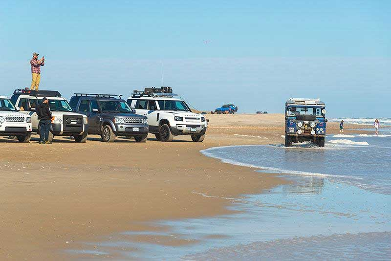 Oxford the Land Rover at the beach