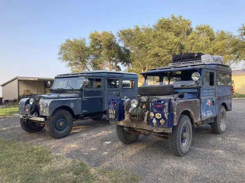 Oxford the Land Rover and Mickey the wagon