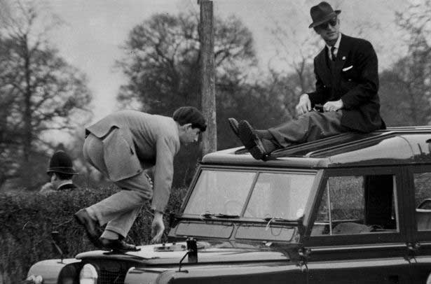 Prince Philip and Charles on Rover