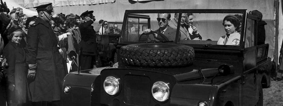 Prince Philip driving his Land Rover