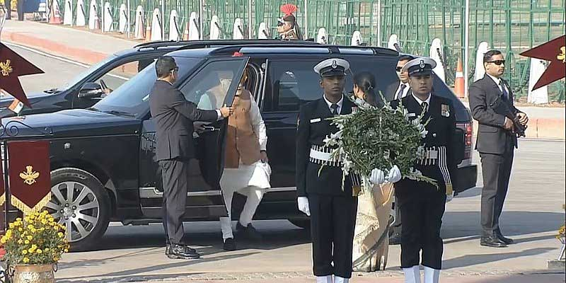 Prime Minister Narendra Modi stepping out of his Range Rover