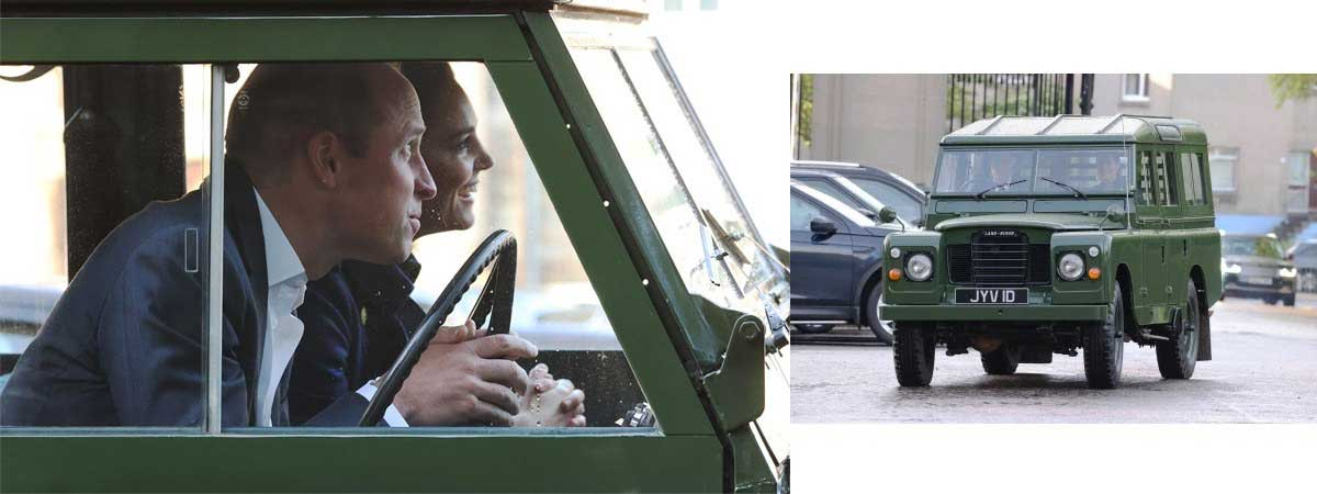 the Duke and Duchess of Cambridge driving the late Duke of Edinburghs 109