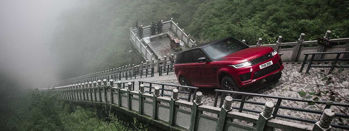 Range Rover Sport drives up the Dragon Steps in China.