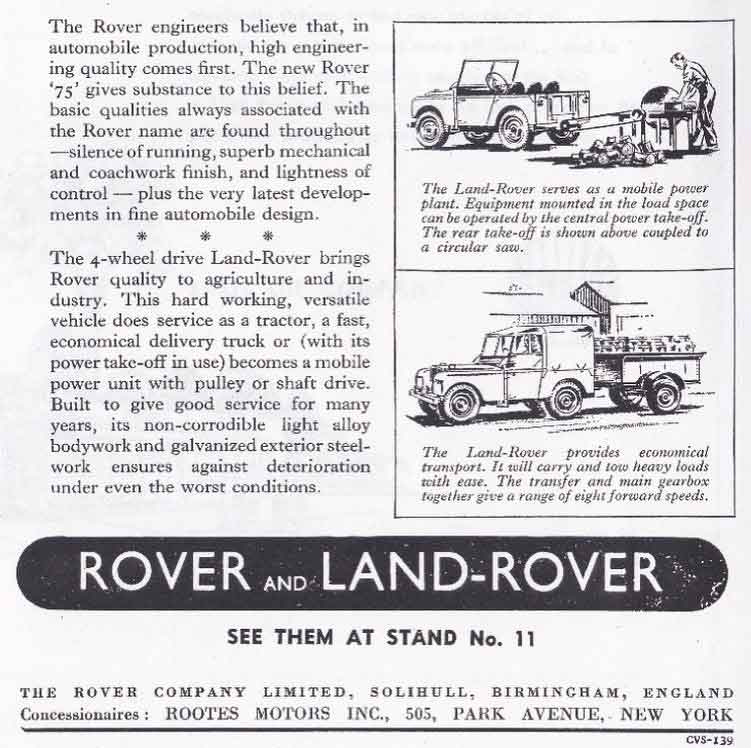 Rootes Land Rover Series I Advertisement