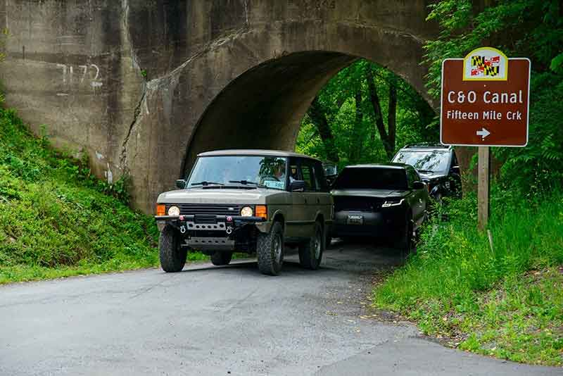 Range Rover Classic off-road Maryland C&O canal fifteen mile creek