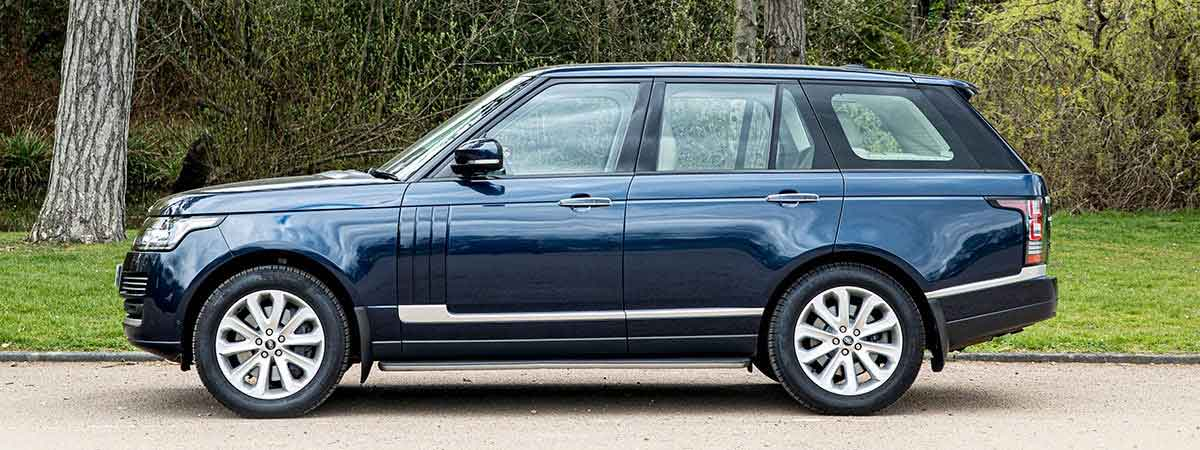 side view of the Cambridges' Range Rover