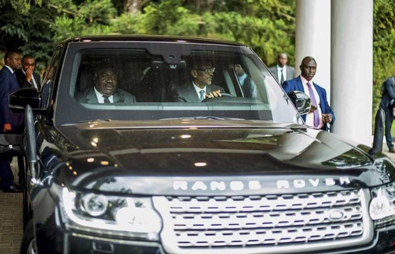 President Paul Kagame of Rwanda and his Range Rover